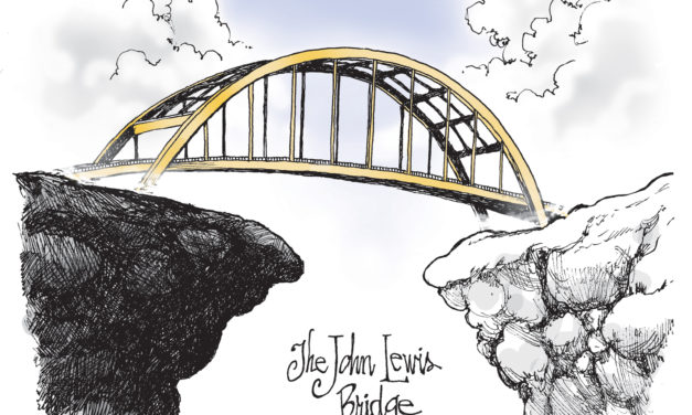 The John Lewis Bridge, A Cartoon By Award-Winning Bill Day