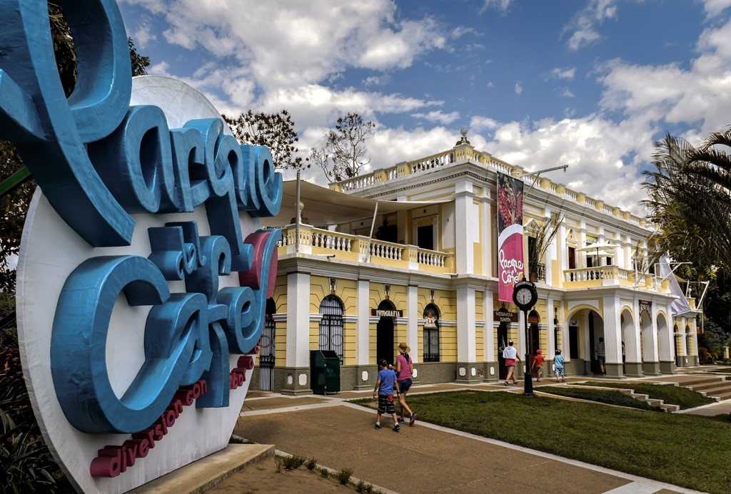Vistors enter the museum at Parque del Cafe, Colombia's coffee-themed amusement park.