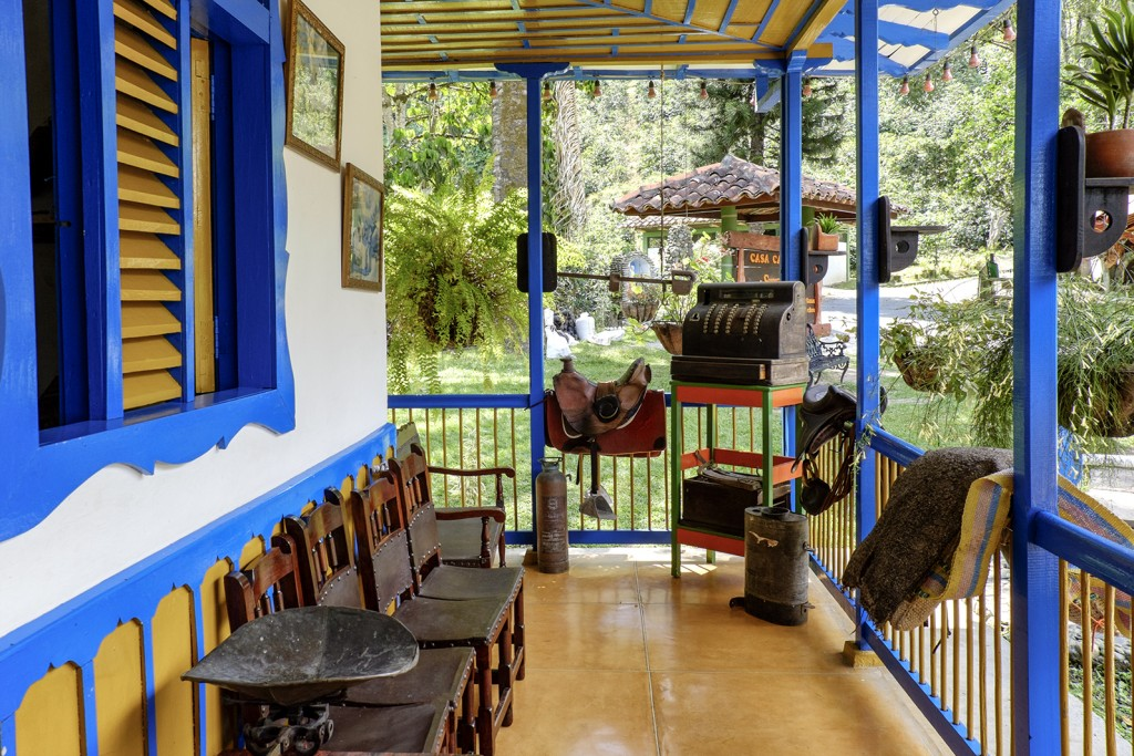 A traditional farmhouse inside Parque del Cafe, in Armenia, Colombia.