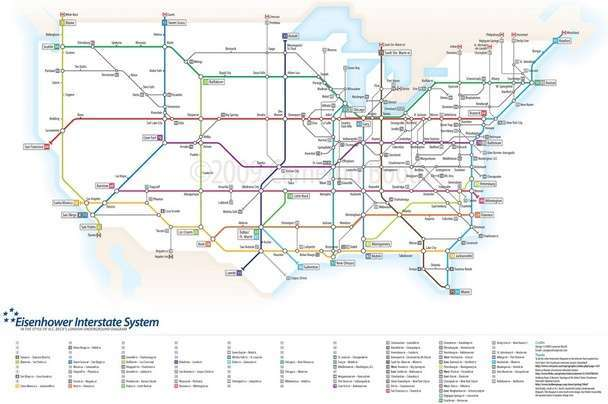 Us Interstates As A London Tube Map Smart City Memphis - Map-of-the-us-interstate-system