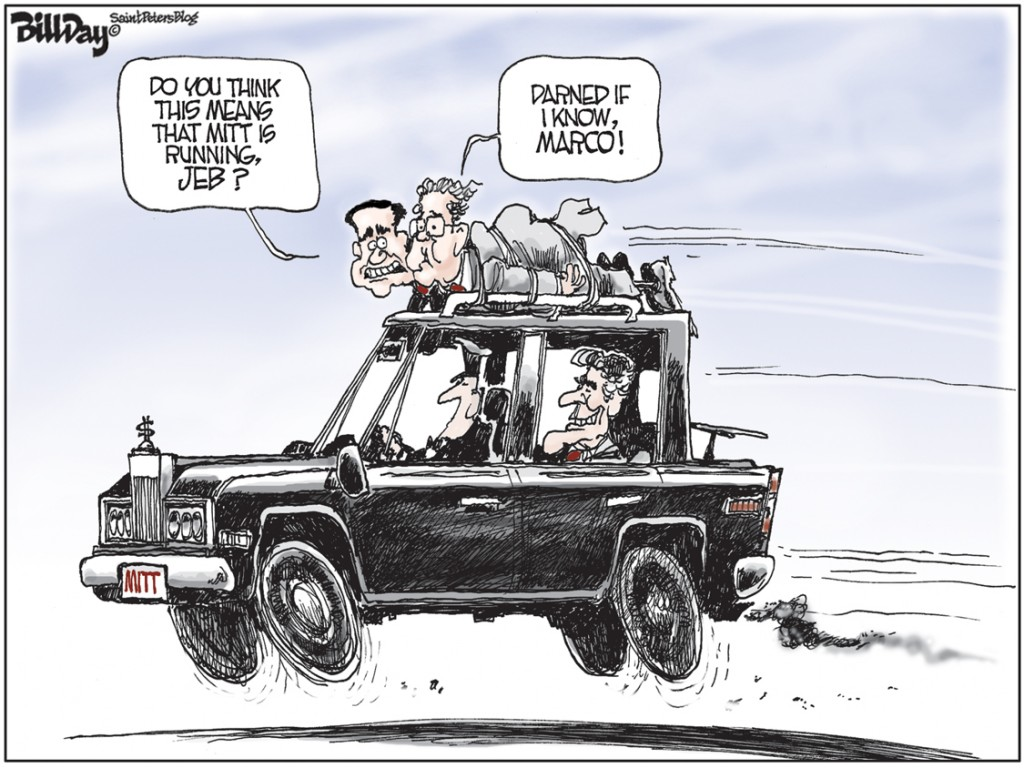 Marco, Jeb, and Mitt, A Bill Day Cartoon