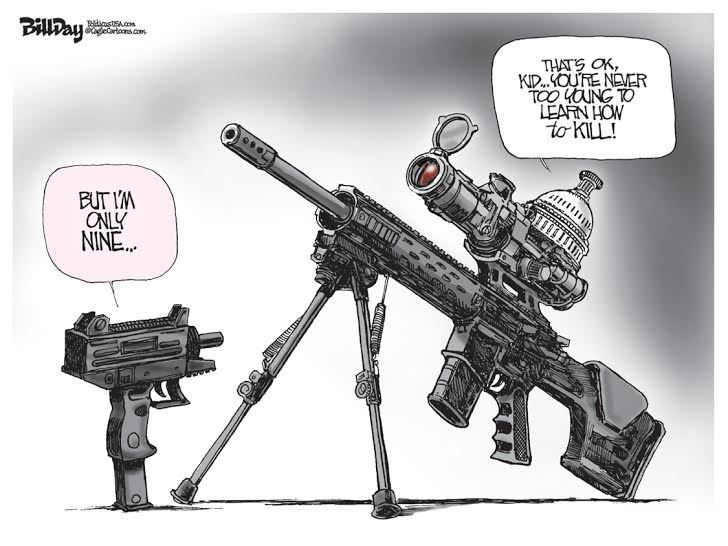Uzi Insanity, A Bill Day Cartoon
